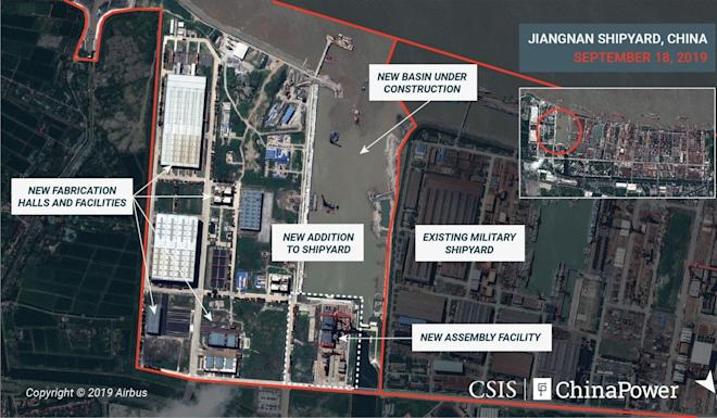 The shipyard expansion includes buildings for manufacturing ship components. Photo: CSIS/ChinaPower/Airbus via Reuters