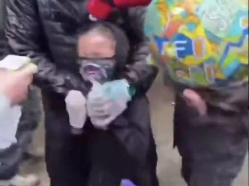 A little girl suffering from mace during the George Floyd protest in Seattle, Washington: Twitter