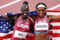 <p>TOKYO, JAPAN - AUGUST 03: Gold medalist Athing Mu of Team United States and bronze medalist Raevyn Rogers of Team United States celebrate after the Women's 800m Final on day eleven of the Tokyo 2020 Olympic Games at Olympic Stadium on August 03, 2021 in Tokyo, Japan. (Photo by Christian Petersen/Getty Images)</p>
