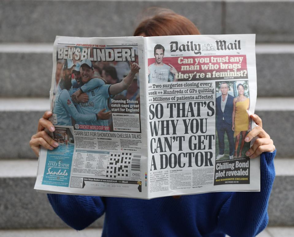 The Daily Mail's owner reported a revenue increase (Jonathan Brady/PA) (PA Archive)