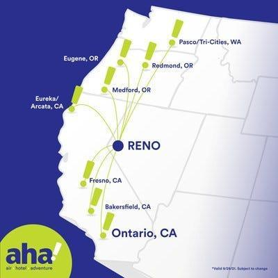 Aha Airlines plans to offer nonstop flights from smaller West Coast cities to Reno-Tahoe International Airport.