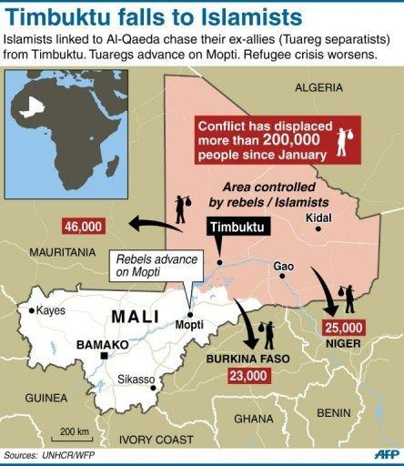 "<p>Map of Mali locating Islamist/rebel held towns, with data on refugee movements. The UN Security Council called for an immediate ceasefire and return to democracy in Mali, prompting an announcement of an end to ""military operations"" by Tuareg rebels in the north.</p>"