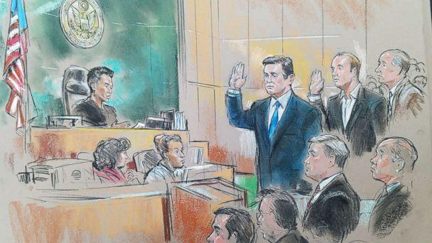 PHOTO: Paul Manafort and Rick Gates appear in federal court with U.S. District Magistrate Judge Deborah Robinson, Oct. 30, 2017. (Bill Hennessy courtroomart.com)