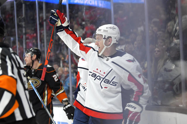 Washington Capitals center Travis Boyd celebrates his goal during the first period of the team's NHL hockey game against the Anaheim Ducks on Friday, Dec. 6, 2019, in Anaheim, Calif. (AP Photo/Mark J. Terrill)