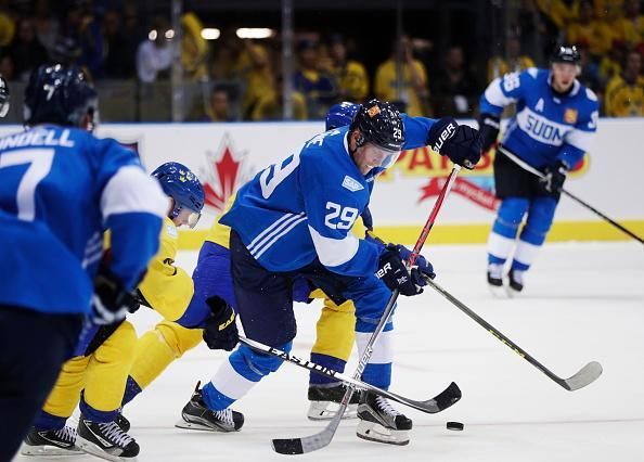 GOTHENBURG, SWEDEN - SEPTEMBER 10: Patrik Laine of Finland during the Pre World Cup of Hockey match between Sweden and Finland at Scandinavium on September 10, 2016 in Gothenburg, Sweden. (Photo by Nils Petter Nilsson/Ombrello/World Cup of Hockey via Getty Images)