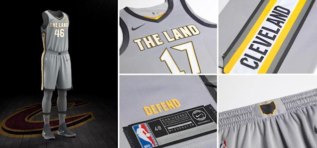 "<a class=""link rapid-noclick-resp"" href=""/nba/teams/cle/"" data-ylk=""slk:Cleveland Cavaliers"">Cleveland Cavaliers</a> City uniform. (Nike)"