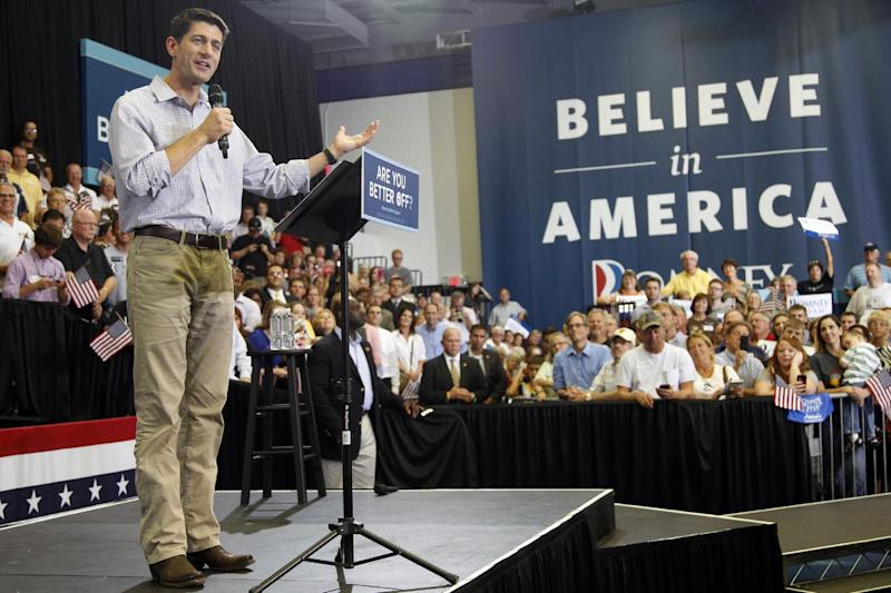 Republican vice presidential candidate, Rep. Paul Ryan, R-Wis., speaks during a campaign event at Kirkwood Community College, Tuesday, Sept. 4, 2012, in Cedar Rapids, Iowa.  (AP Photo/Mary Altaffer)
