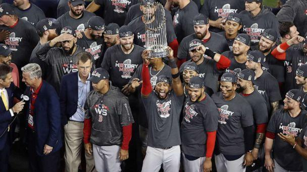 PHOTO: The Boston Red Sox celebrate their 5-1 win over the Los Angeles Dodgers in Game Five to win the 2018 World Series at Dodger Stadium on Oct. 28, 2018 in Los Angeles. (Ezra Shaw/Getty Images, FILE)