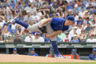 Kansas City Royals starting pitcher Kris Bubic (50) throws against the Chicago Cubs during the first inning of a baseball game, Saturday, Aug. 21, 2021, in Chicago. (AP Photo/Mark Black)