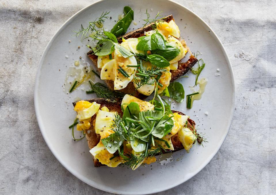 """<a href=""""https://www.bonappetit.com/recipe/egg-salad-tartines-with-mixed-herbs?mbid=synd_yahoo_rss"""" rel=""""nofollow noopener"""" target=""""_blank"""" data-ylk=""""slk:See recipe."""" class=""""link rapid-noclick-resp"""">See recipe.</a>"""
