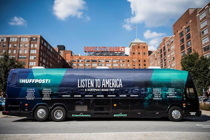 The HuffPost bus sits in front of Ponce City Market in Atlanta on Sept. 22.