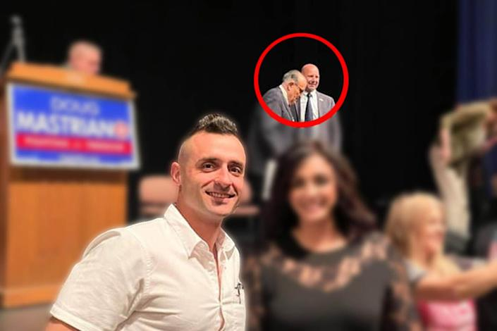 Lazar poses for a photo at the May 15 event forPennsylvania state Sen. Doug Mastriano (R), who backed Trump's efforts to overturn the 2020 election. Mastriano and headline speaker Rudy Giuliani can be seen in the background. (Photo: Facebook)
