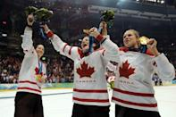"""<p>Canada's women's hockey team celebrated their third consecutive gold medal with champagne and cigars, which was considered scandalous since <a href=""""https://www.thestar.com/sports/olympics/2010/02/26/canadas_gold_medal_party_blown_out_of_proportion.html"""" rel=""""nofollow noopener"""" target=""""_blank"""" data-ylk=""""slk:they went back out on the ice and partied while in their uniforms"""" class=""""link rapid-noclick-resp"""">they went back out on the ice and partied while in their uniforms</a>. They had thought the rink was empty, and Hockey Canada issued an official apology for their actions.</p>"""