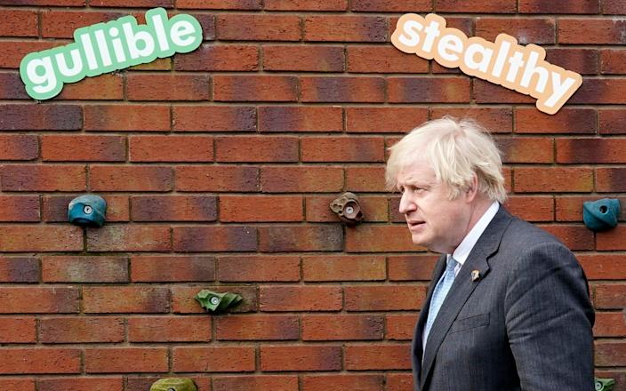 Boris Johnson during his visit to a school in Stoke-on-Trent - Christopher Furlong/Getty Images Europe