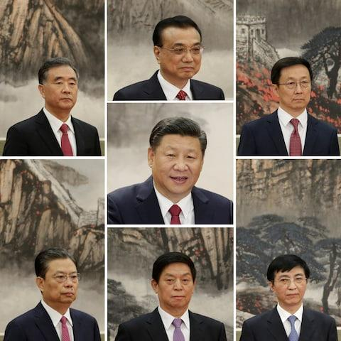 A combination of pictures showing China's new Politburo Standing Committee members  - Credit:  JASON LEE/Reuters
