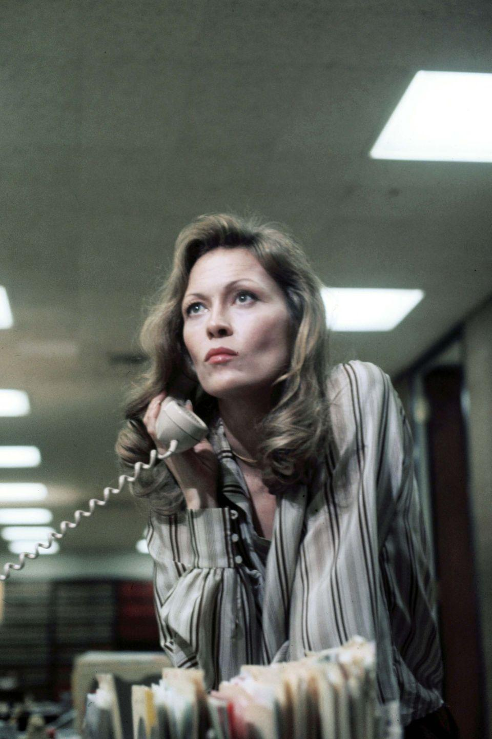 <p>Hark back to the Seventies office wardrobe by letting Faye Dunaway in Network inspire your look. The star's Oscar-winning turn as producer Diana Christensen is filled with great tailoring, silk shirts, camel co-ords and some amazing outerwear.</p>