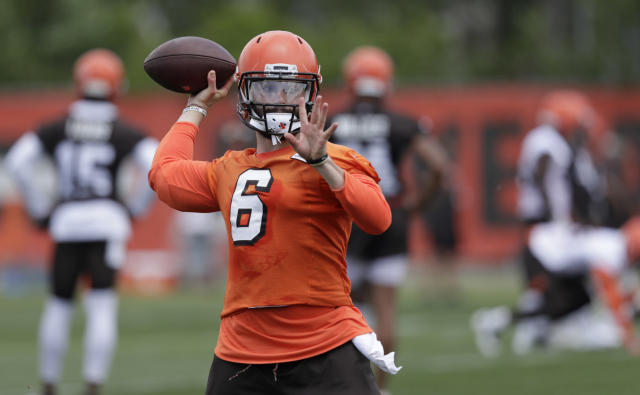 Baker Mayfield is prepared to back up Tyrod Taylor in his first year in Cleveland. (AP Photo/Tony Dejak)