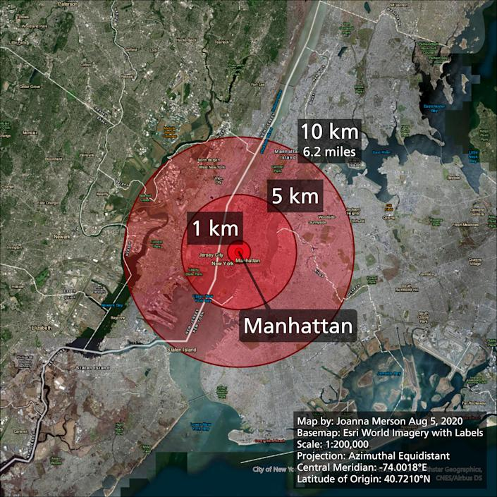 The damage radius of the explosion in Beirut if it had happened in New York. (Joanna Merson)