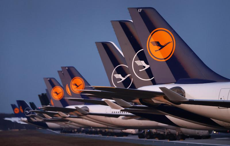 Planes of German carrier Lufthansa a parked on a closed runway at the airport in Frankfurt, Germany, March 23, 2020, as the spread of the coronavirus disease (COVID-19) continues. REUTERS/Kai Pfaffenbach