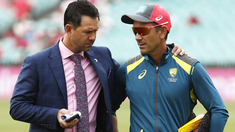 Ricky Ponting and Justin Langer, pictured here at the SCG for the third Test between Australia and New Zealand.