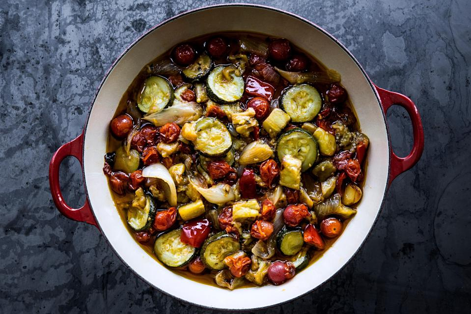 """For a little spice, you can add either dried or fresh chiles (like Fresno, Thai, or red pepper flakes) to this classic ratatouille recipe. This is part of BA's Best, a collection of our essential recipes. <a href=""""https://www.bonappetit.com/recipe/ratatouille-2?mbid=synd_yahoo_rss"""" rel=""""nofollow noopener"""" target=""""_blank"""" data-ylk=""""slk:See recipe."""" class=""""link rapid-noclick-resp"""">See recipe.</a>"""