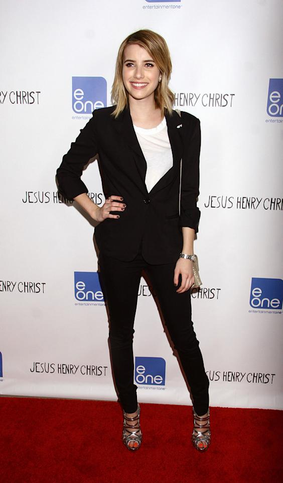 """Emma Roberts attends the Los Angeles premiere of """"Jesus Henry Christ"""" on April 18, 2012."""
