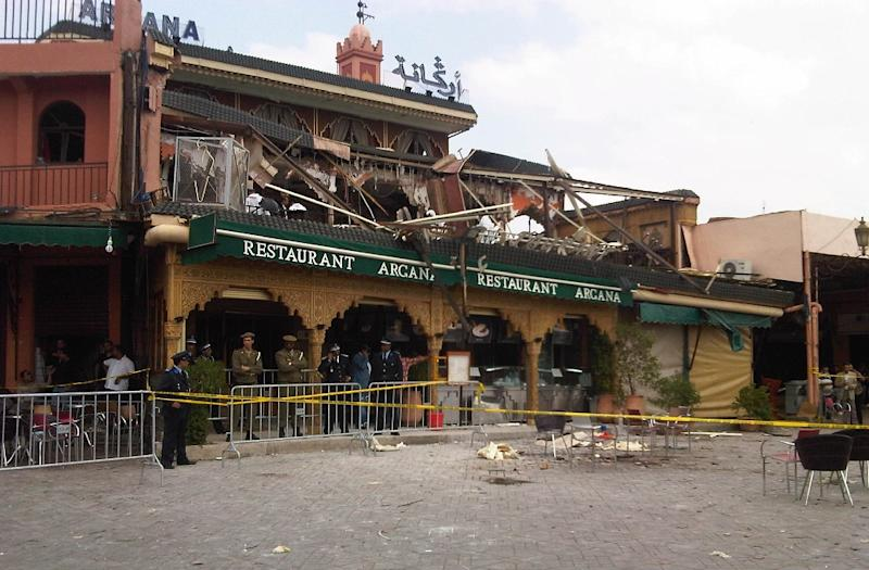 Popular tourist cafe in the Moroccan city of Marrakesh after an April 2011 bomb attack (AFP Photo/HORTENSE DE VALROGER)