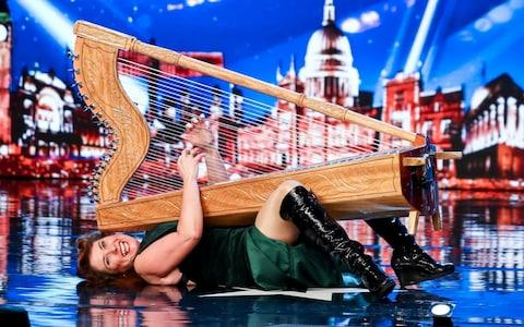Ursula Burns decided to lie down with her harp - Credit: Syco/Thames