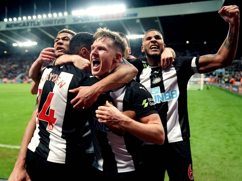 Newcastle United's Isaac Hayden celebrates scoring: PA