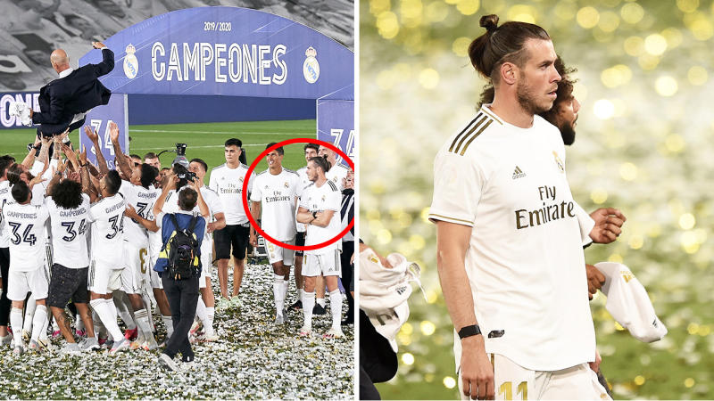 Gareth Bale (pictured far right) cross-armed during celebrations and (pictured right) walking off the field.