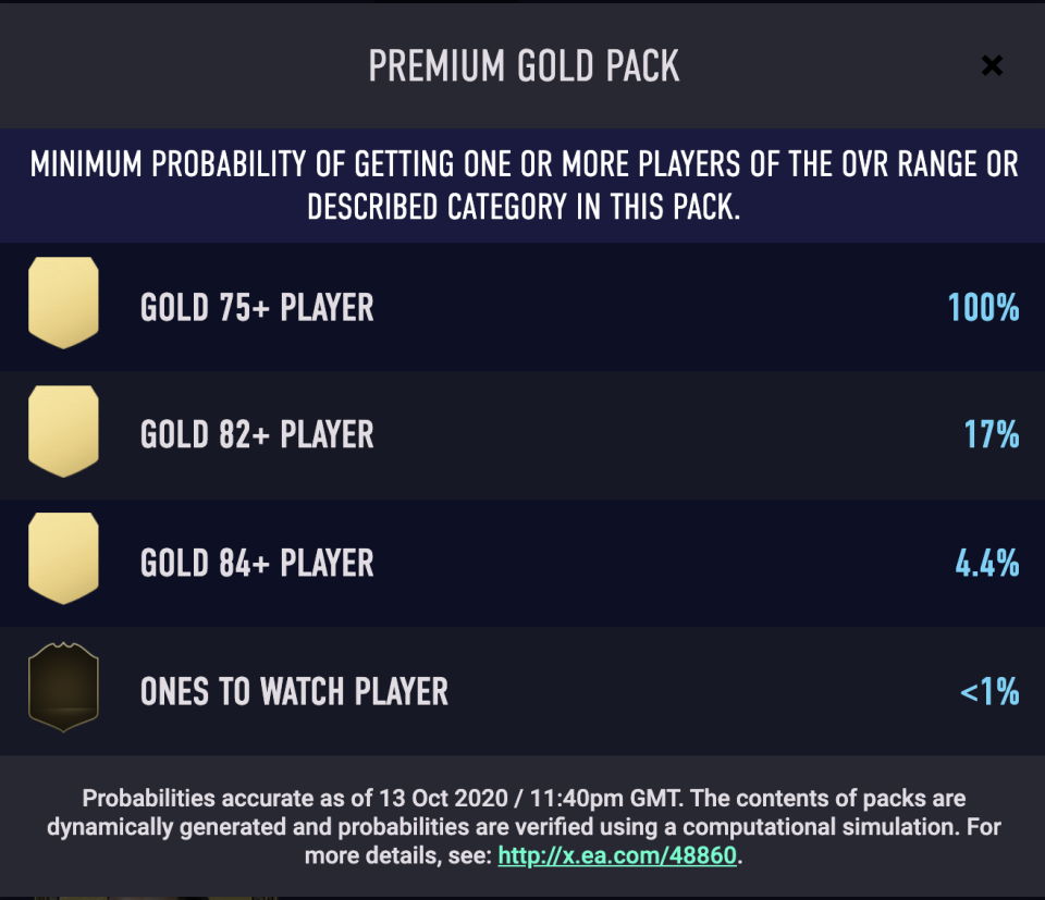 Typical pack odds in 'FIFA 21'
