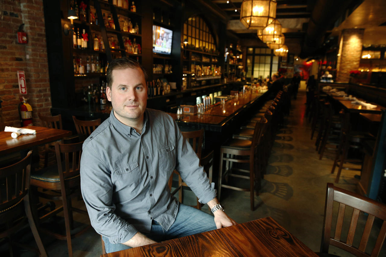 <p> In this Dec. 23, 2016 photo, owner Dylan Welsh poses in Worden Hall restaurant in Boston. Welsh said Seattle Storm guard Sue Bird, of the WNBA, is a long-time friend and co-investor in his restaurants. (AP Photo/Michael Dwyer) </p>
