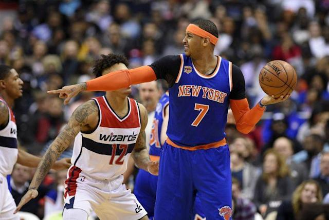 Carmelo Anthony shot 10-of-17 and scored 26 points in the Knicks' loss to the Wizards on Tuesday night. (AP)