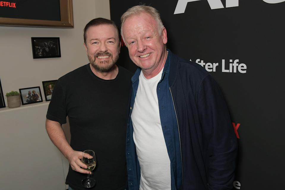 Les Dennis with pal Ricky Gervais (Photo by David M. Benett/Dave Benett/Getty Images)