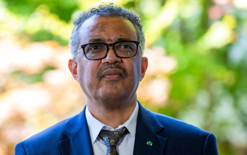 "Tedros Adhanom Ghebreyesus cautioned that while the virus can be stopped, ""the path ahead remains treacherous"" - Salvatore Di Nolfi/Keystone"