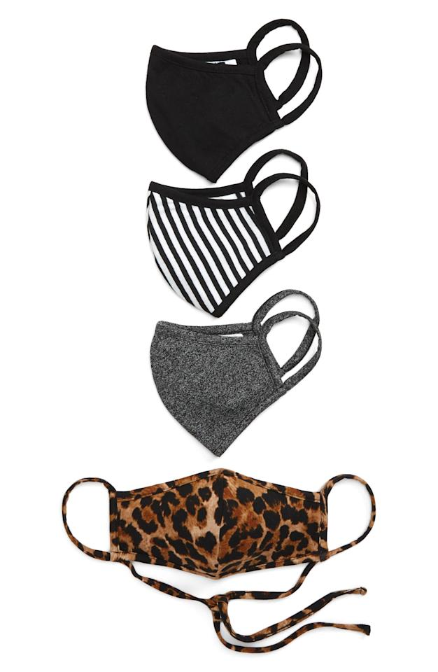 "<p>From neutral black to fierce leopard print, <product href=""https://www.nordstrom.com/s/nordstrom-assorted-4-pack-adult-face-masks/5663667?origin=keywordsearch-personalizedsort&amp;breadcrumb=Home%2FAll%20Results&amp;color=fashion%20animal%20print%20pack"" target=""_blank"" class=""ga-track"" data-ga-category=""Related"" data-ga-label=""https://www.nordstrom.com/s/nordstrom-assorted-4-pack-adult-face-masks/5663667?origin=keywordsearch-personalizedsort&amp;breadcrumb=Home%2FAll%20Results&amp;color=fashion%20animal%20print%20pack"" data-ga-action=""In-Line Links"">this four-pack of face masks</product> ($20) from Nordstrom offers double-layered protection for every mood. The masks are made with a jersey material, with nose-to-chin coverage and adjustable ear loops so you can get a snug fit.</p>"
