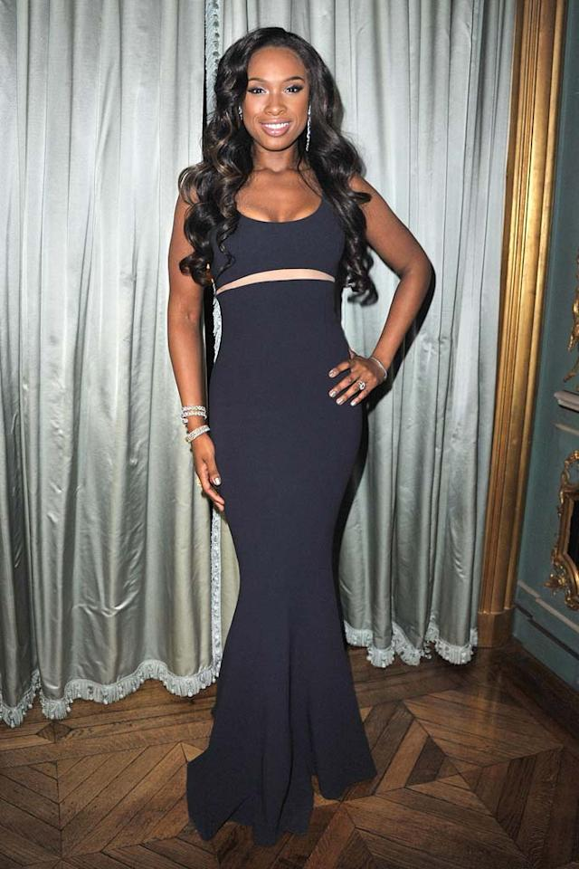 """Meanwhile in Paris, at the Michael Kors 30th anniversary celebratory dinner, fashionista Jennifer Hudson flaunted her fab new frame in a navy, curve-hugging gown and diamond baubles. Pascal Le Segretain/<a href=""""http://www.gettyimages.com/"""" target=""""new"""">GettyImages.com</a> - March 7, 2011"""