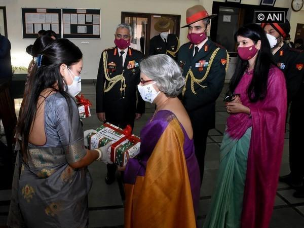 Indian Army Chief's wife Veena Naravane delivered gifts from Gorkha soldiers to their wives living in Kathmandu on Sunday. [Photo/ANI]