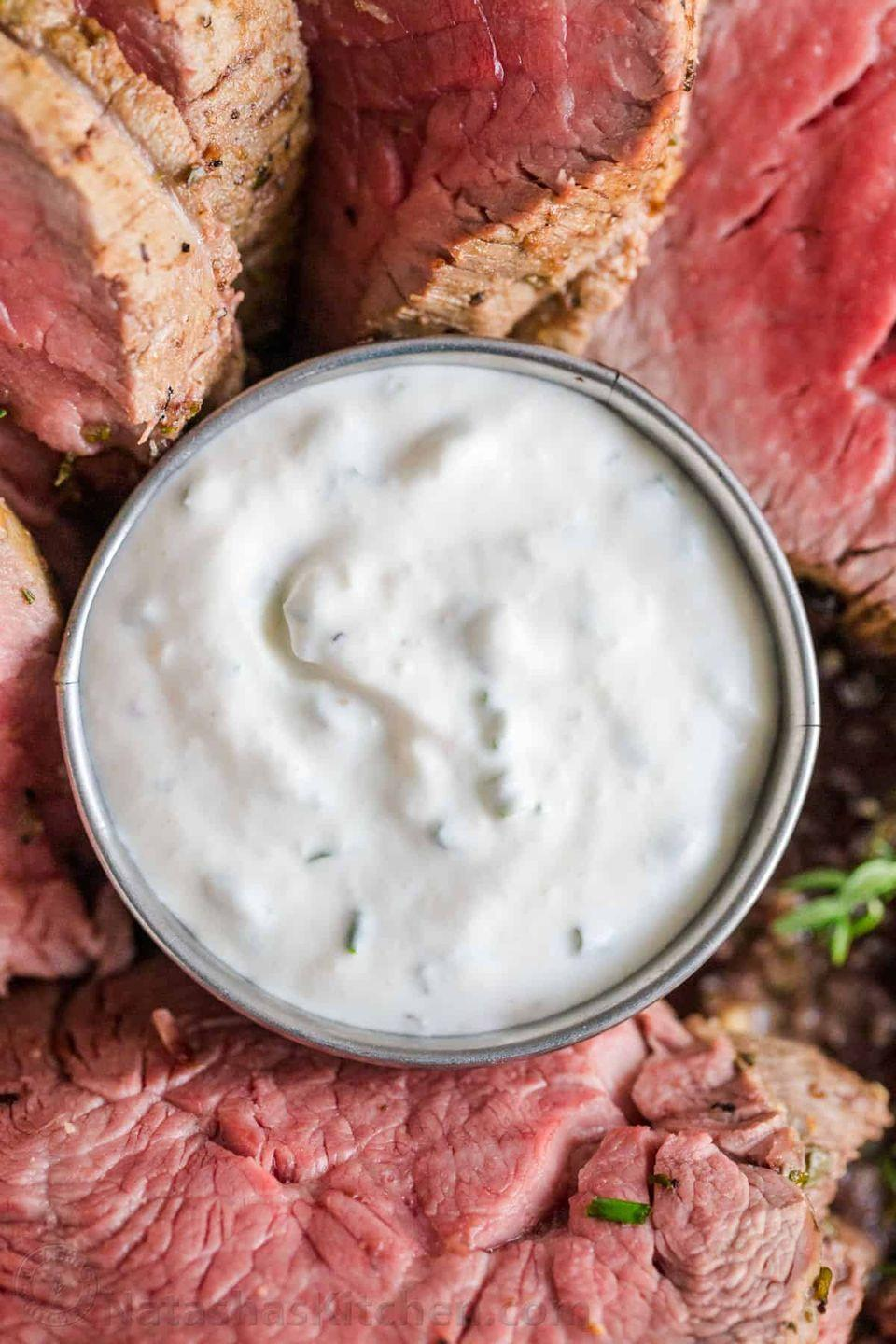 """<p>Creamy horseradish sauce is a steakhouse staple. Try it with prime rib, steak sandwiches, and more. </p><p><strong>Get the recipe at <a href=""""https://natashaskitchen.com/horseradish-sauce-recipe/"""" rel=""""nofollow noopener"""" target=""""_blank"""" data-ylk=""""slk:Natasha's Kitchen"""" class=""""link rapid-noclick-resp"""">Natasha's Kitchen</a>.</strong></p><p><a class=""""link rapid-noclick-resp"""" href=""""https://go.redirectingat.com?id=74968X1596630&url=https%3A%2F%2Fwww.walmart.com%2Fbrowse%2Fhome%2Fmixing-bowls%2F4044_623679_133020_4496646_2514018%3Fpovid%3D4044%2B%257C%2B%2B%257C%2BMixingBowlsNavBar&sref=https%3A%2F%2Fwww.thepioneerwoman.com%2Ffood-cooking%2Frecipes%2Fg36383850%2Fsteak-sauce-recipes%2F"""" rel=""""nofollow noopener"""" target=""""_blank"""" data-ylk=""""slk:SHOP MIXING BOWLS"""">SHOP MIXING BOWLS</a></p>"""