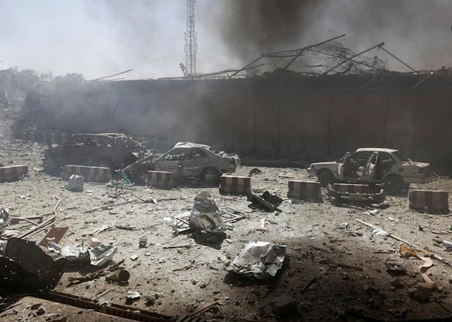 <p>Damaged cars are seen after a blast at the site of the incident in Kabul, Afghanistan May 31, 2017. (Omar Sobhani/Reuters) </p>