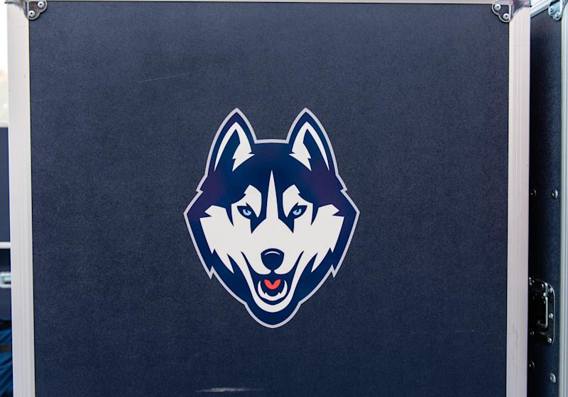 BOISE, ID - SEPTEMBER 08: The Connecticut Huskies logo on an equipment box at the game between the Connecticut Huskies vs the Boise State Broncos on Saturday, September 8, 2018, at Albertsons Stadium in Boise, Idaho. (Photo by Douglas Stringer/Icon Sportswire via Getty Images)