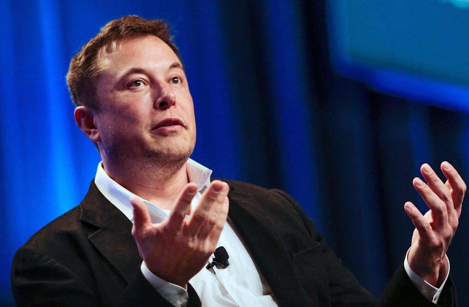 """Tesla and SpaceX CEO Elon Musk speaks in a """"fireside chat"""" at the National League of Cities (NLC) 2018 City Summit in Los Angeles, California, U.S. November 8, 2018. REUTERS/Kyle Grillot"""