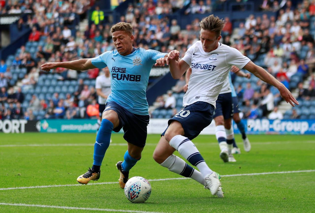Soccer Football - Preston North End vs Newcastle United - Pre Season Friendly - June 22, 2017   Newcastle United's Siem de Jong in action with Preston North End's Ben Davies   Action Images via Reuters/Jason Cairnduff