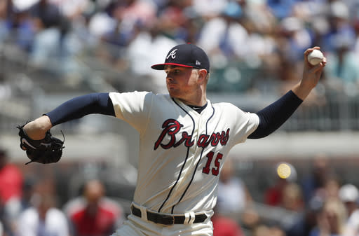 "<a class=""link rapid-noclick-resp"" href=""/mlb/teams/atl"" data-ylk=""slk:Atlanta Braves"">Atlanta Braves</a> allowed just one baserunner as he no-hit the Los Angeles Dodgers on Sunday. (AP Photo)"
