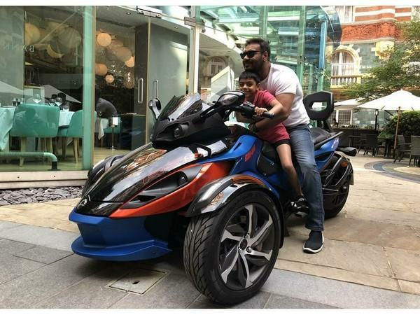 Ajay Devgn with his son Yug (Image source: Instagram)