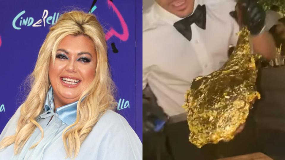 Gemma Collins wasn't afraid to splash out to try the 24k Golden Tomahawk steak. (Tim P. Whitby/Getty Images/Instagram/Gemma Collins)