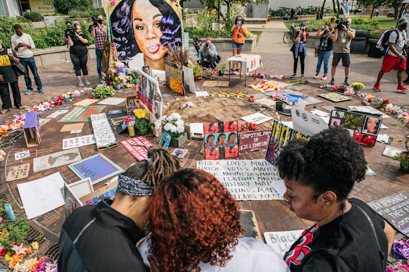 Tamika Palmer, mother of Breonna Taylor, center, at a memorial dedicated to her daughter on Sept. 15. (Brandon Bell/Getty Images)