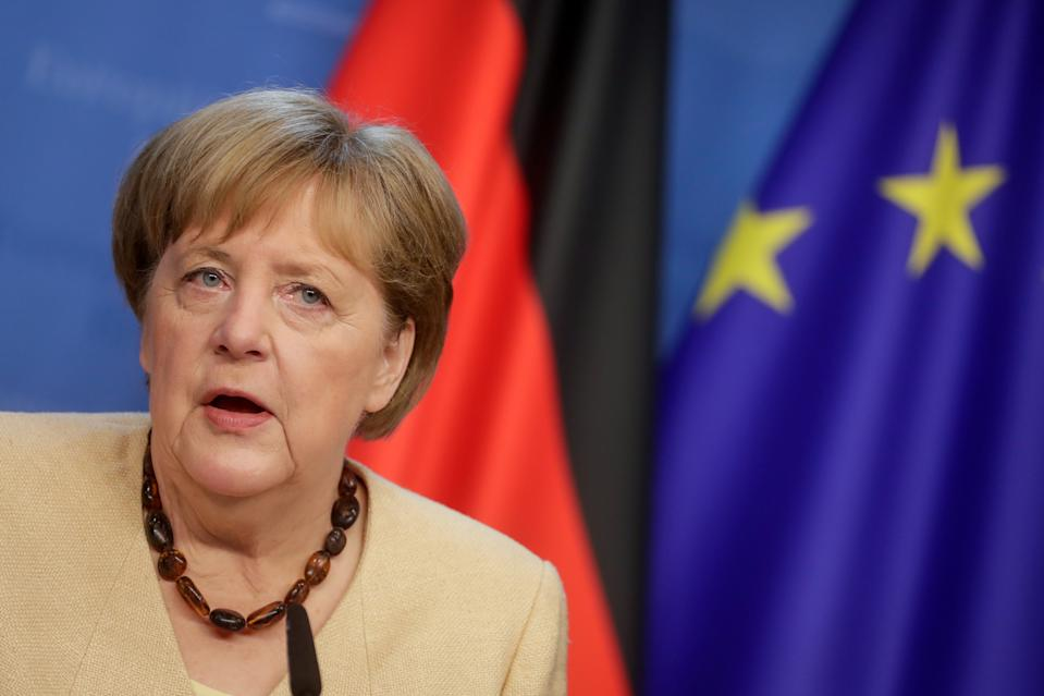Germany's Chancellor Angela Merkel gives a press conference on the second day of a EU summit at the European Council building in Brussels, Belgium June 25, 2021. Stephanie Lecocq/Pool via REUTERS