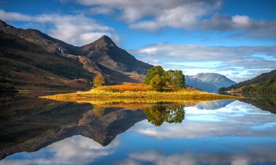 Kinlochleven sits at the end of Loch Leven. Pap of Glencoe is in the middle distance.