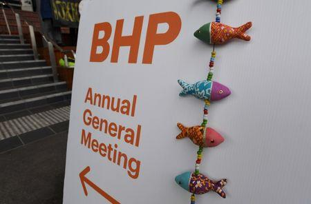 A signboard is seen outside BHP Billiton's Annual General Meeting (AGM) in Melbourne, Australia, November 16, 2017. AAP/Joe Castro/via REUTERS
